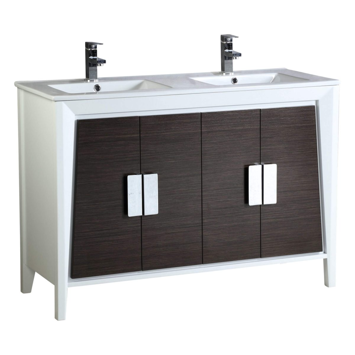"""Imperial II Modern Double Bathroom Vanity 48""""  Gray and White"""