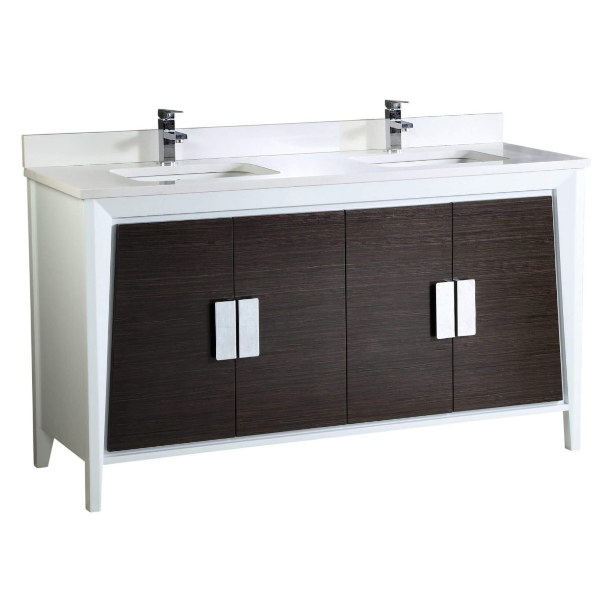 """Imperial II Modern Double Bathroom Vanity 60""""  Gray and White"""