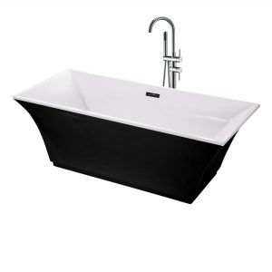 "Sanctuary 67""  Freestanding Black Bathtub"