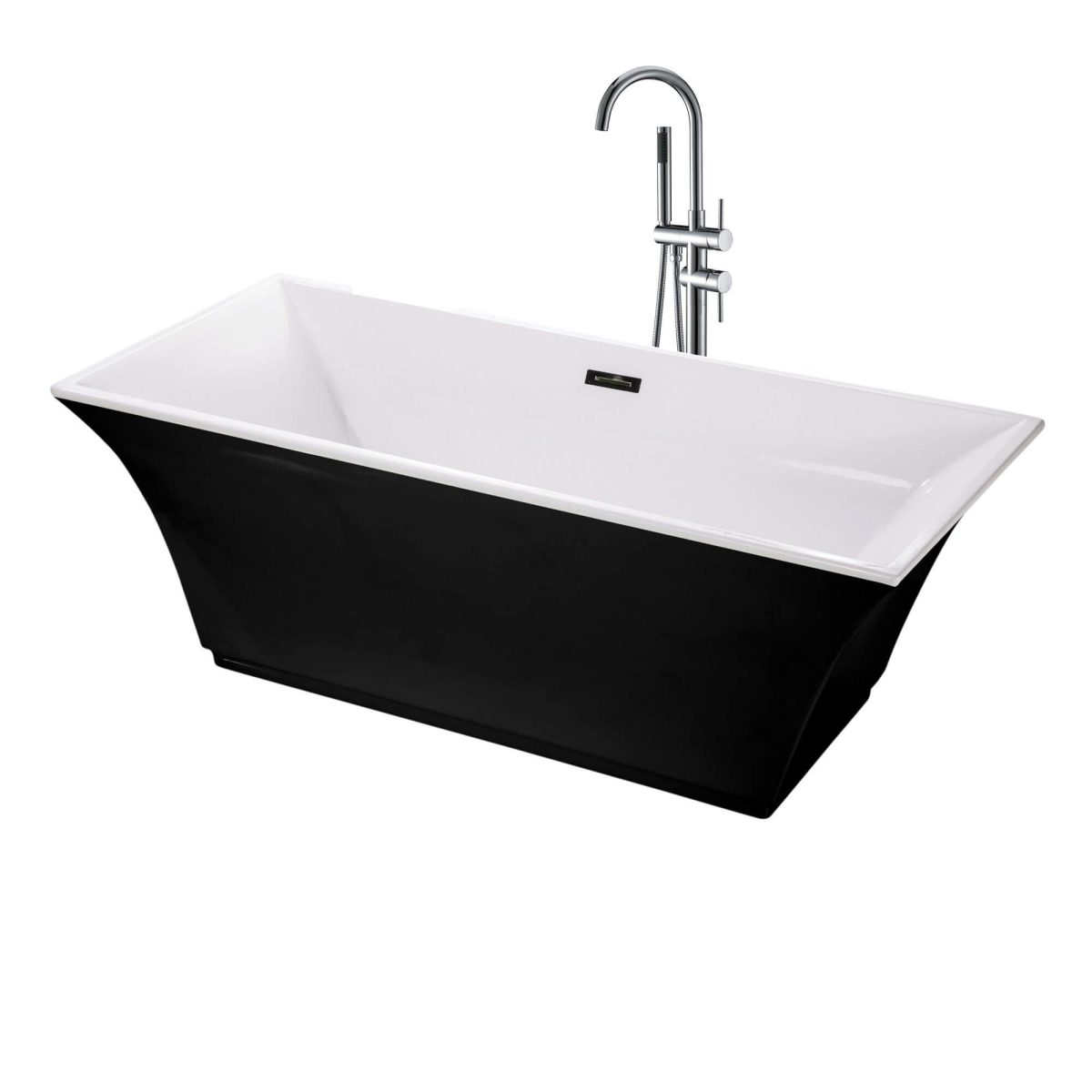"Sanctuary 67""  Freestanding Black Bathtub"
