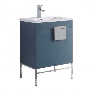 """Shawbridge 24"""" Modern Bathroom Vanity  French Blue with Polished Chrome Hardware"""