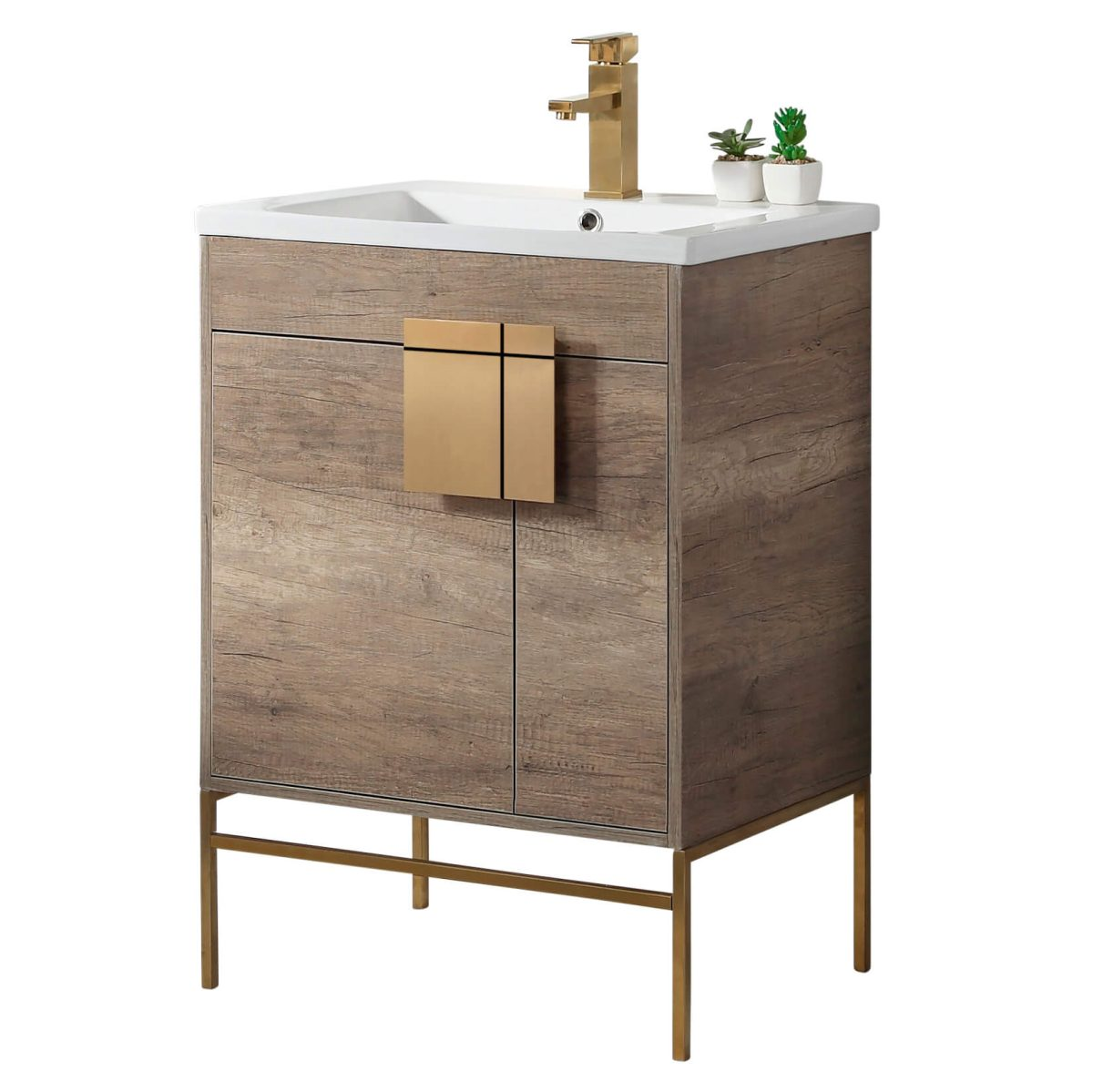 "Shawbridge 24"" Modern Bathroom Vanity  Shadow Gray with Satin Brass Hardware"