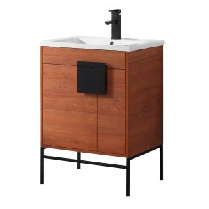"Shawbridge 24"" Modern Bathroom Vanity  Spicy Walnut with Black Hardware"