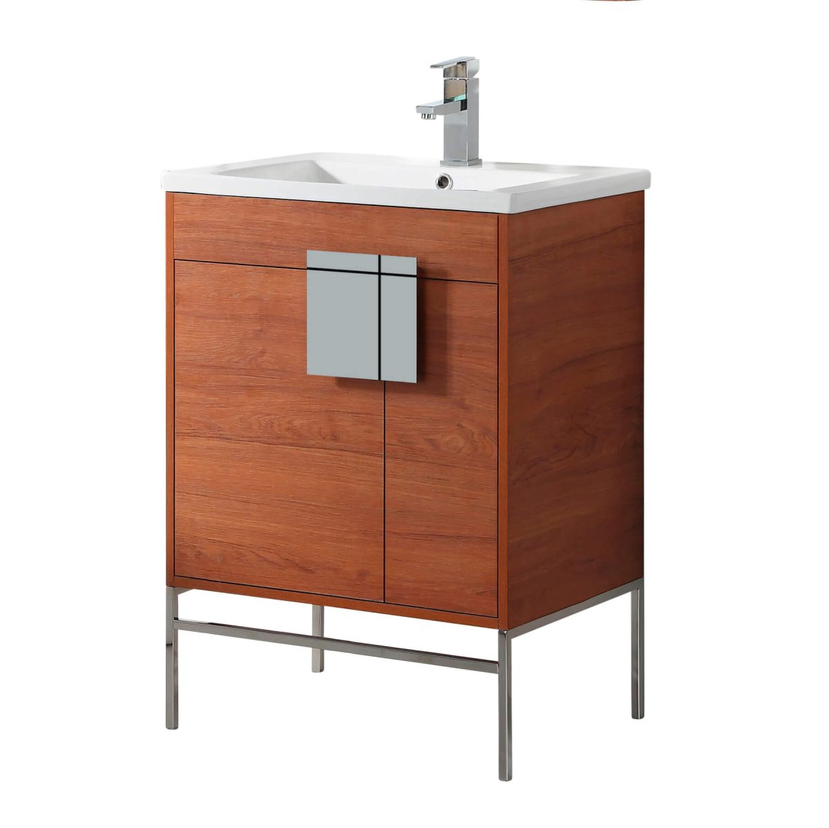 "Shawbridge 24"" Modern Bathroom Vanity  Spicy Walnut with Chrome Hardware"