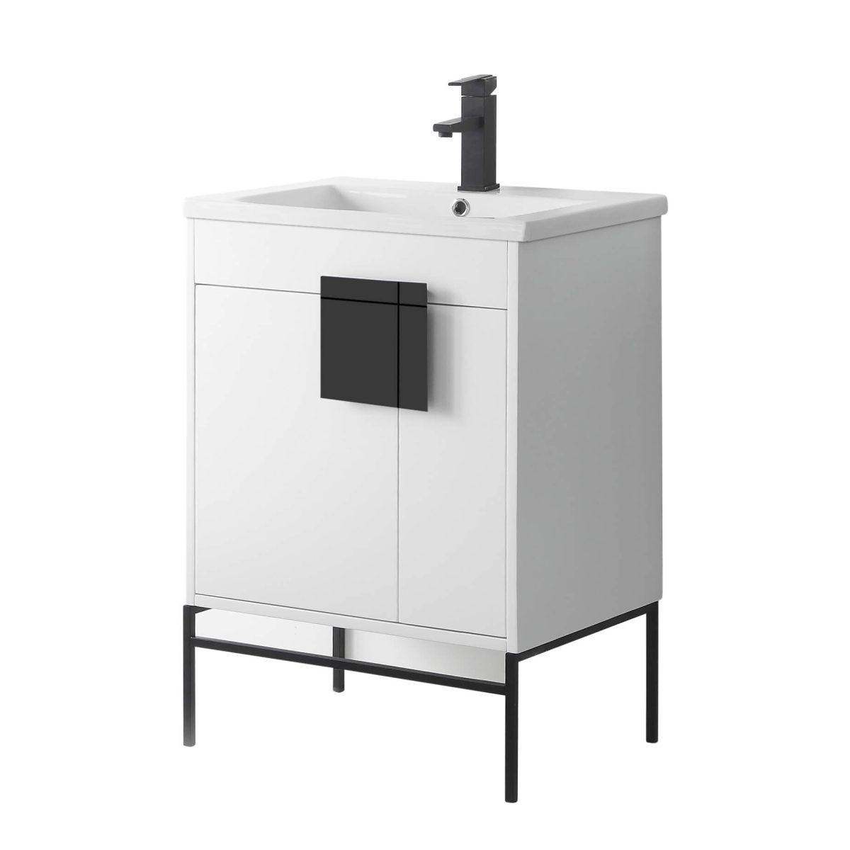 "Shawbridge 24"" Modern Bathroom Vanity  White with Black Hardware"