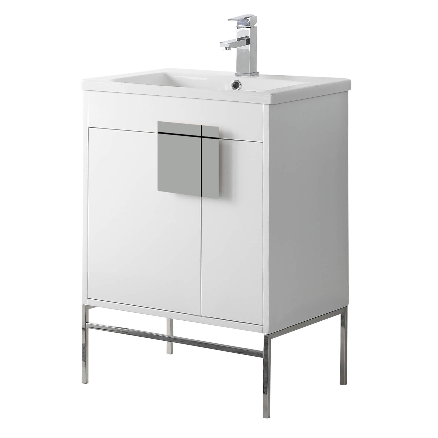"""Shawbridge 24"""" Modern Bathroom Vanity  White with Polished Chrome Hardware"""