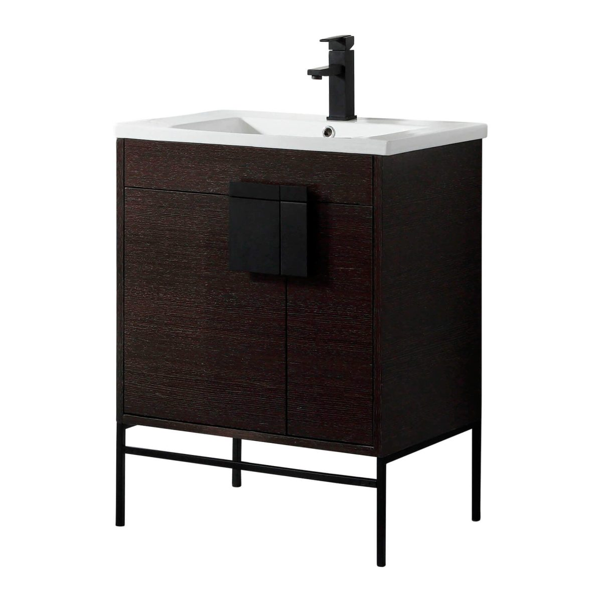 "Shawbridge 30"" Modern Bathroom Vanity  Black Oak Straight Grain with Black Hardware"