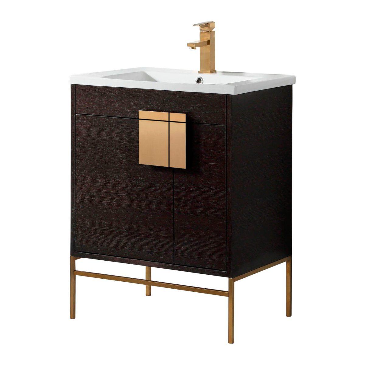 "Shawbridge 30"" Modern Bathroom Vanity  Black Oak Straight Grain with Satin Brass Hardware"