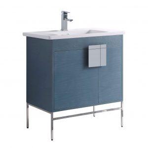 """Shawbridge 30"""" Modern Bathroom Vanity  French Blue with Polished Chrome Hardware"""