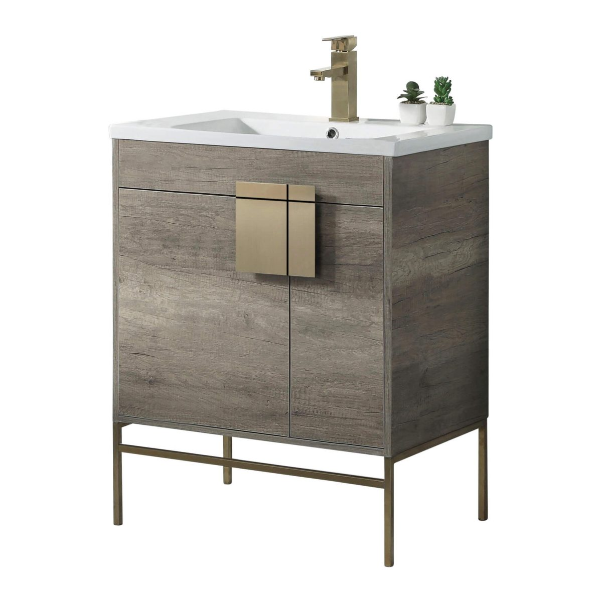 "Shawbridge 30"" Modern Bathroom Vanity  Shadow Gray with Satin Brass Hardware"