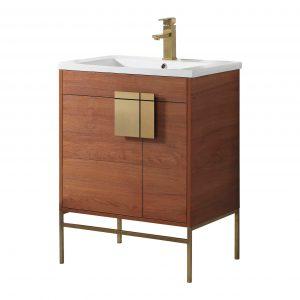 "Shawbridge 30"" Modern Bathroom Vanity  Spicy Walnut with Satin Brass Hardware"