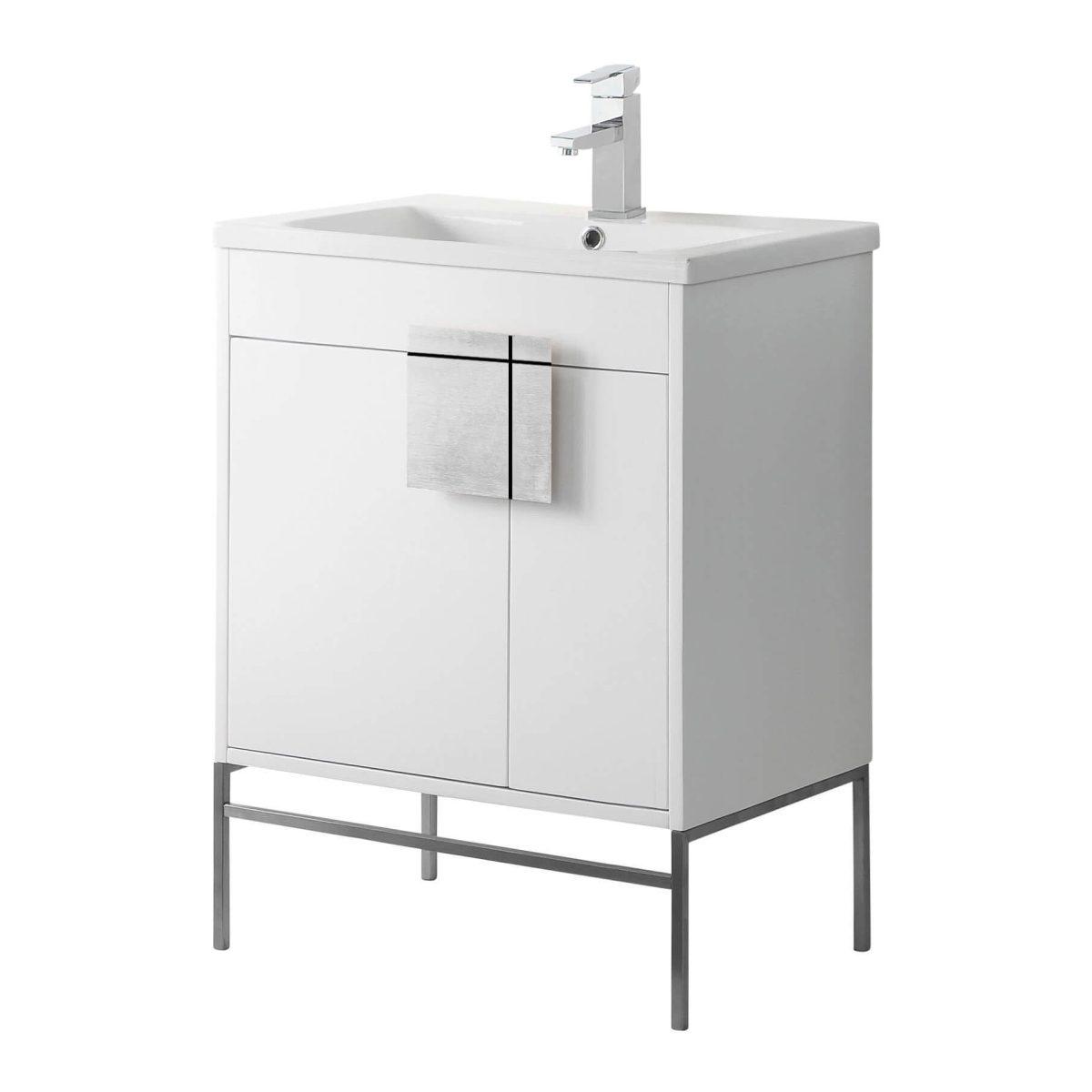 """Shawbridge 30"""" Modern Bathroom Vanity  White with Polished Chrome Hardware"""