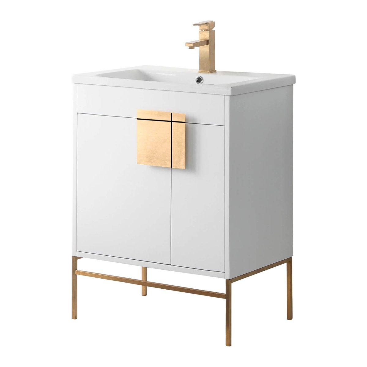 "Shawbridge 30"" Modern Bathroom Vanity  White with Satin Brass Hardware"