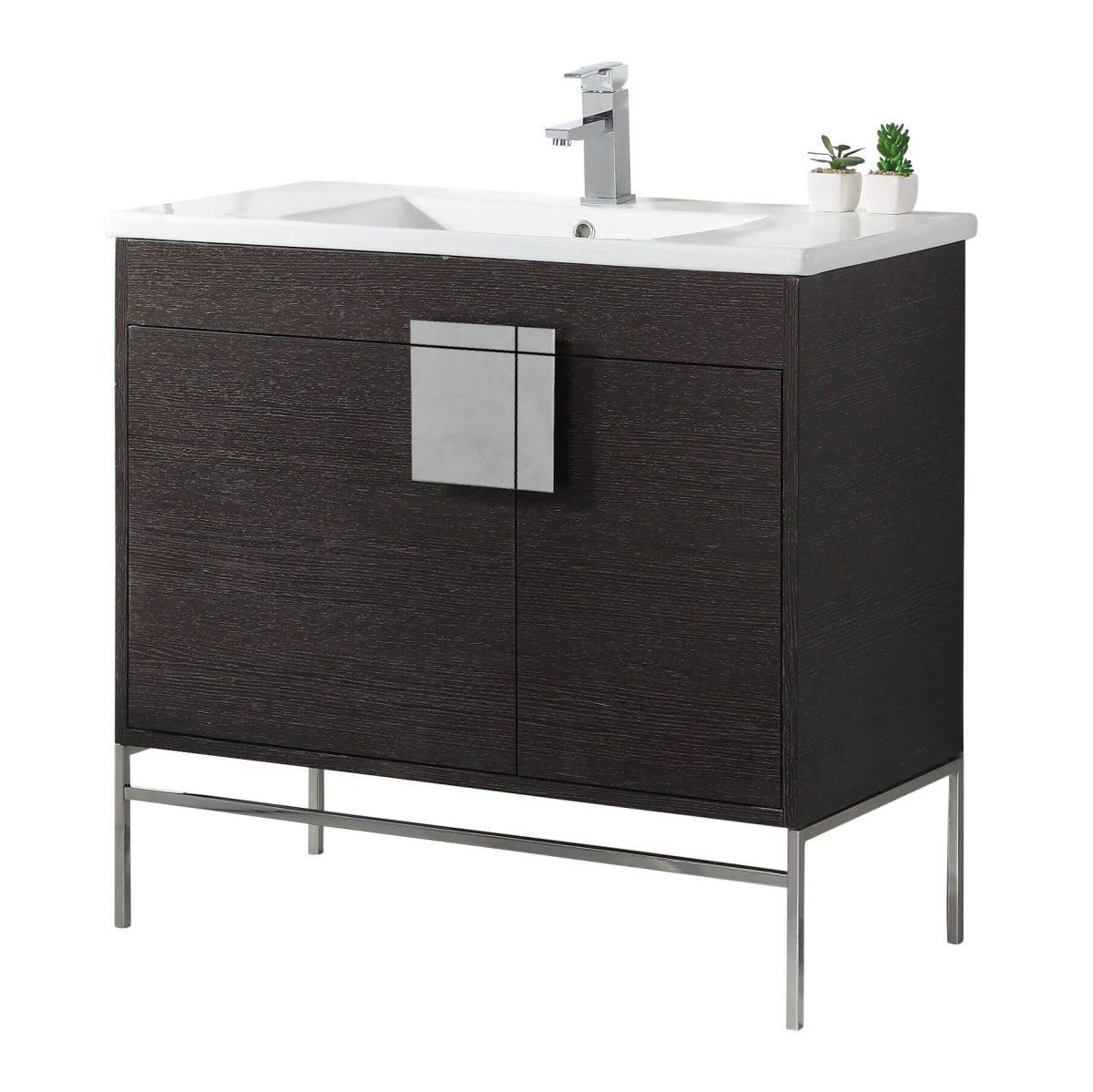 "Shawbridge 36"" Modern Bathroom Vanity  Black Oak Straight Grain with Polished Chrome Hardware"