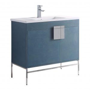 """Shawbridge 36"""" Modern Bathroom Vanity  French Blue with Polished Chrome Hardware"""
