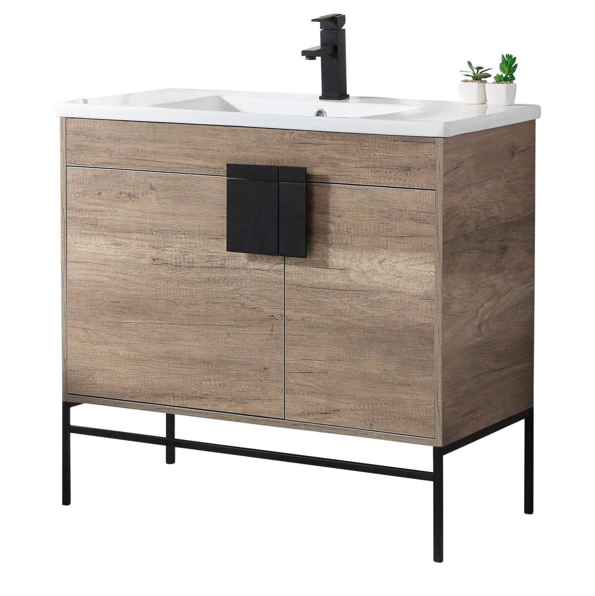"Shawbridge 36"" Modern Bathroom Vanity  Shadow Gray with Black Hardware"