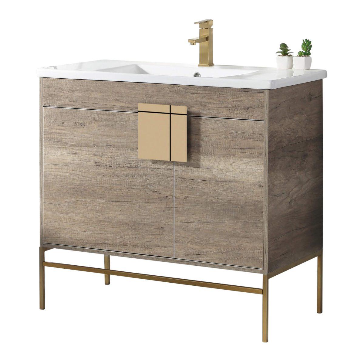 "Shawbridge 36"" Modern Bathroom Vanity  Shadow Gray with Satin Brass Hardware"
