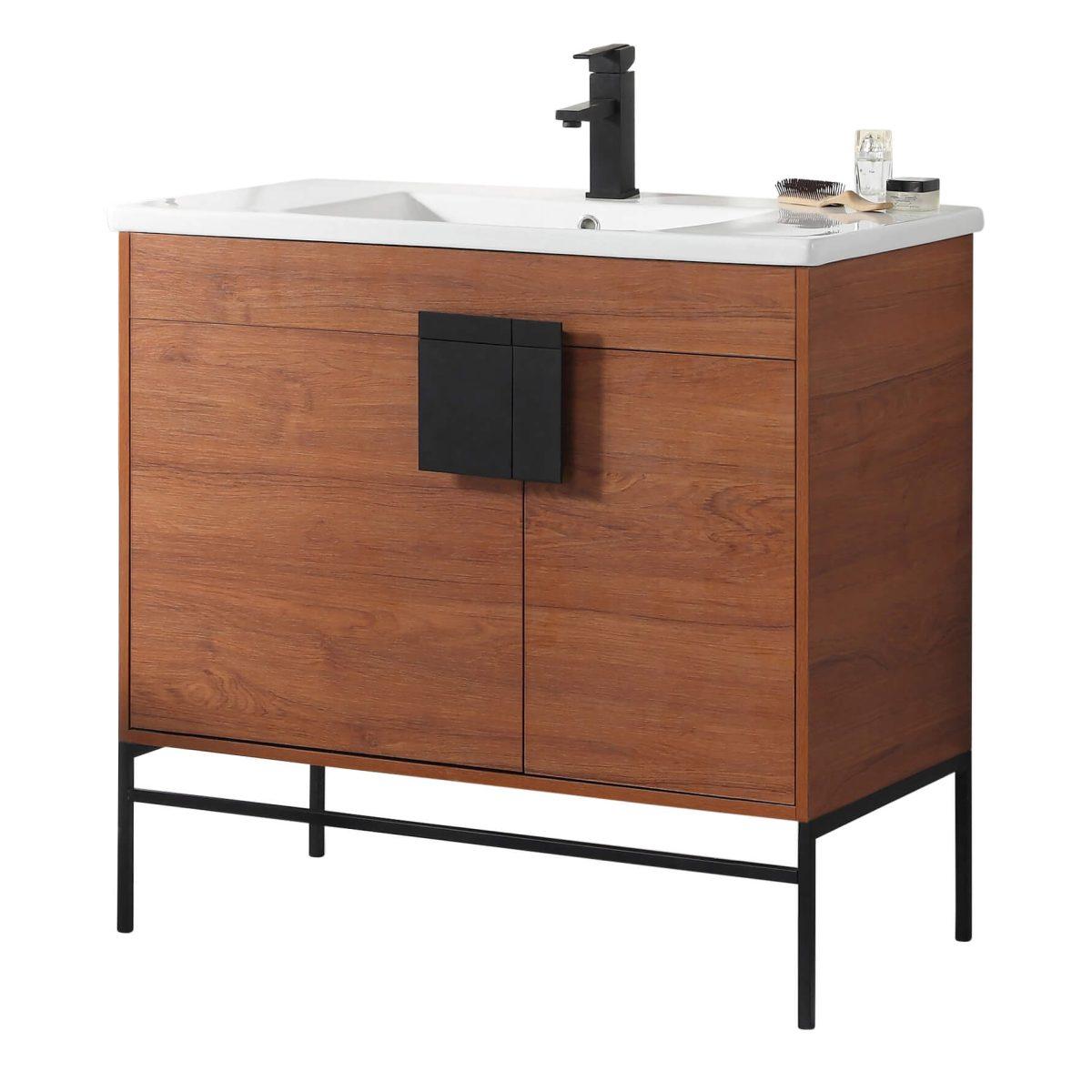 "Shawbridge 36"" Modern Bathroom Vanity  Spicy Walnut with Black Hardware"