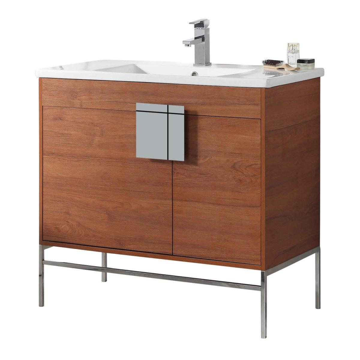 "Shawbridge 36"" Modern Bathroom Vanity  Spicy Walnut with Chrome Hardware"