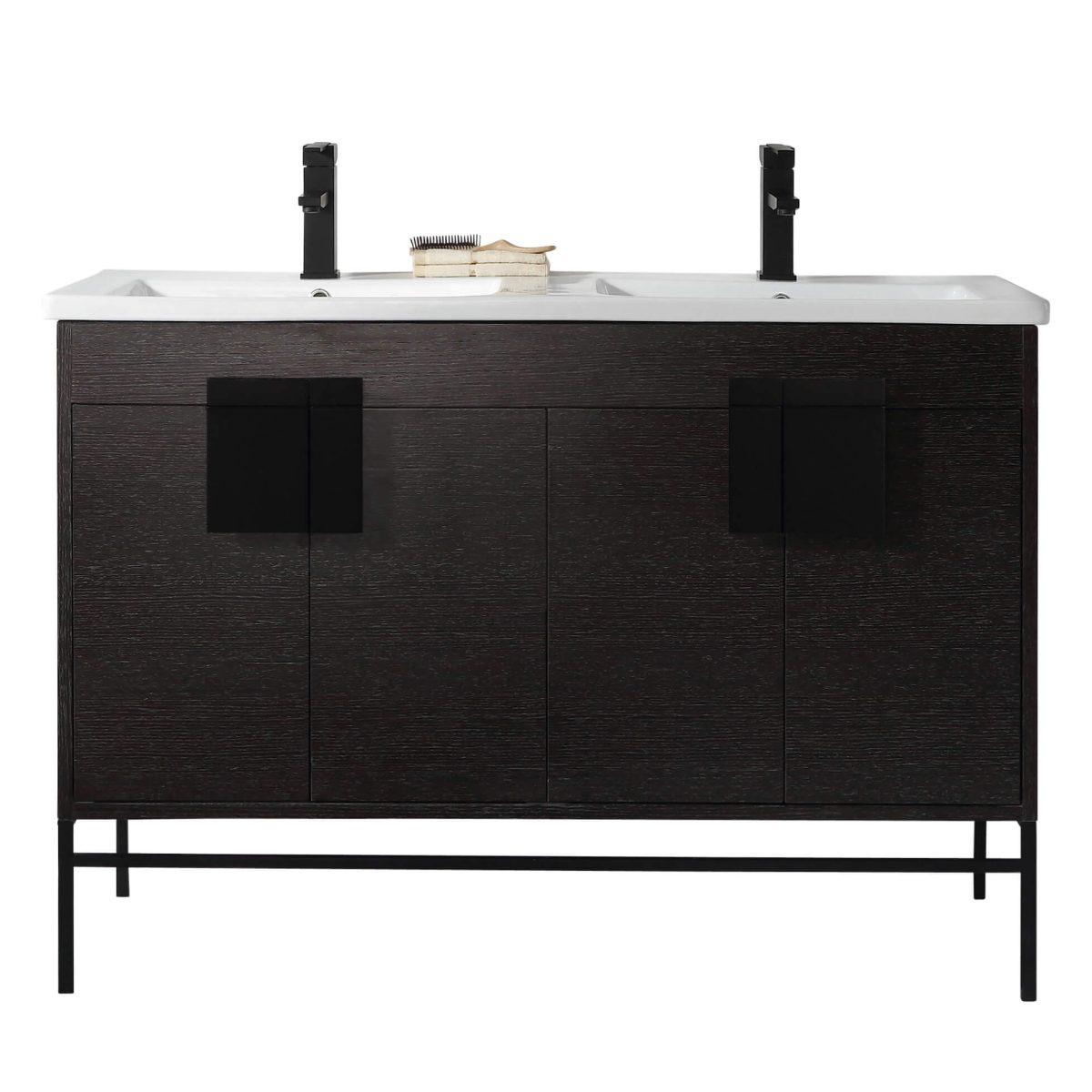 "Shawbridge 48"" Modern Double Bathroom Vanity  Black Oak Straight Grain with Black Hardware"