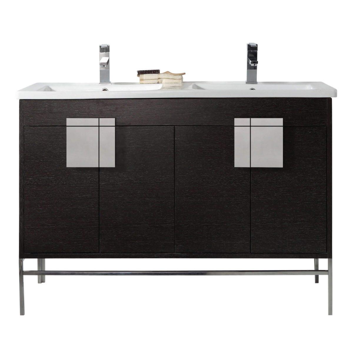 "Shawbridge 48"" Modern Double Bathroom Vanity  Black Oak Straight Grain with Polished Chrome Hardware"