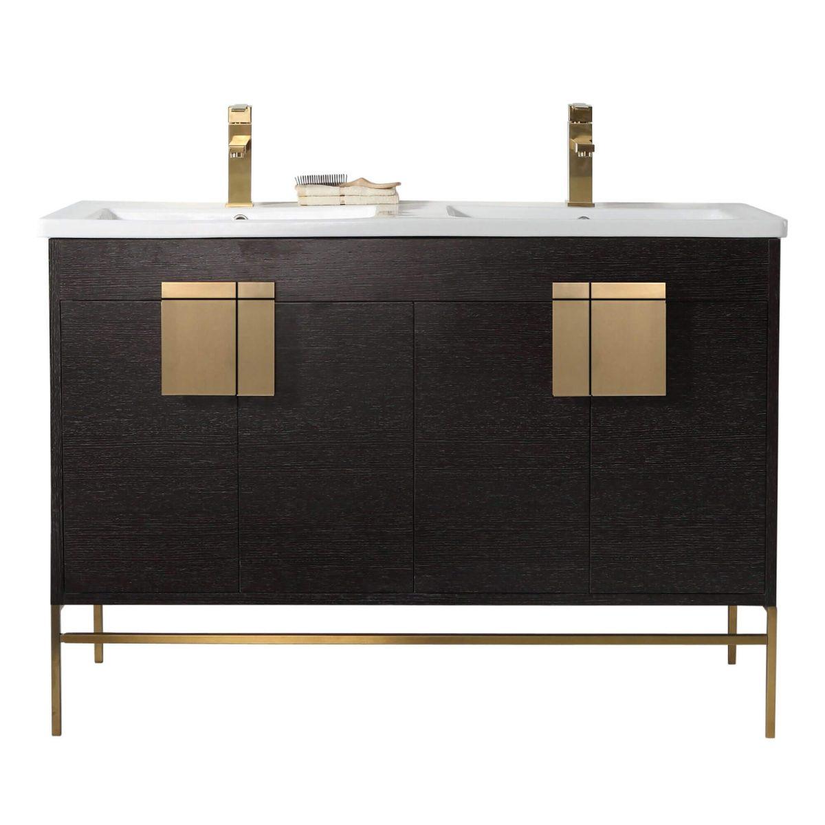 "Shawbridge 48"" Modern Double Bathroom Vanity  Black Oak Straight Grain with Satin Brass Hardware"