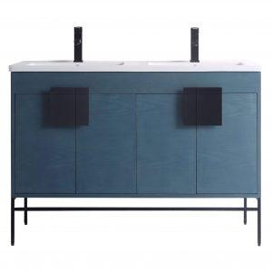 "Shawbridge 48"" Modern Double Bathroom Vanity  French Blue with Black Hardware"