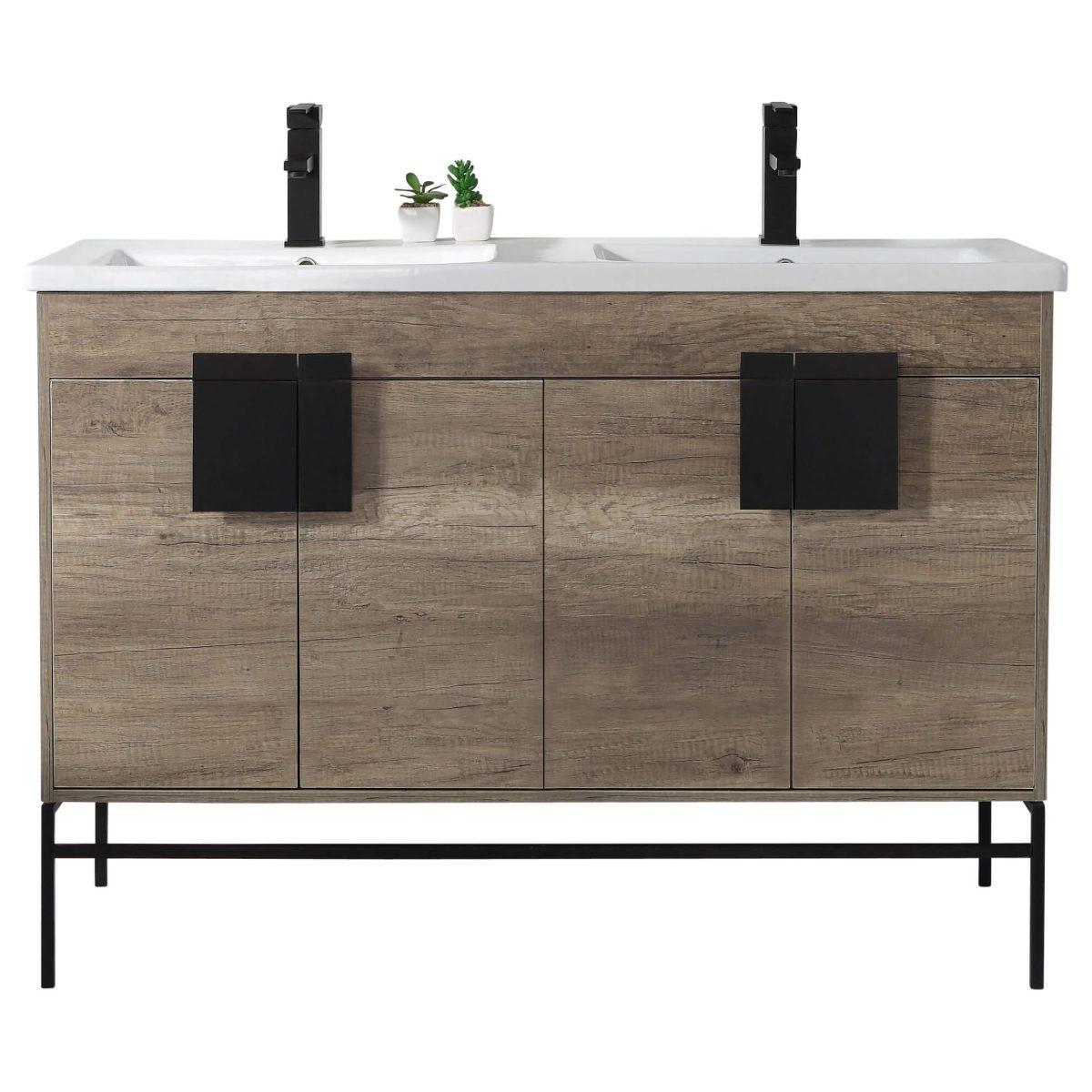 "Shawbridge 48"" Modern Double Bathroom Vanity  Shadow Gray with Black Hardware"