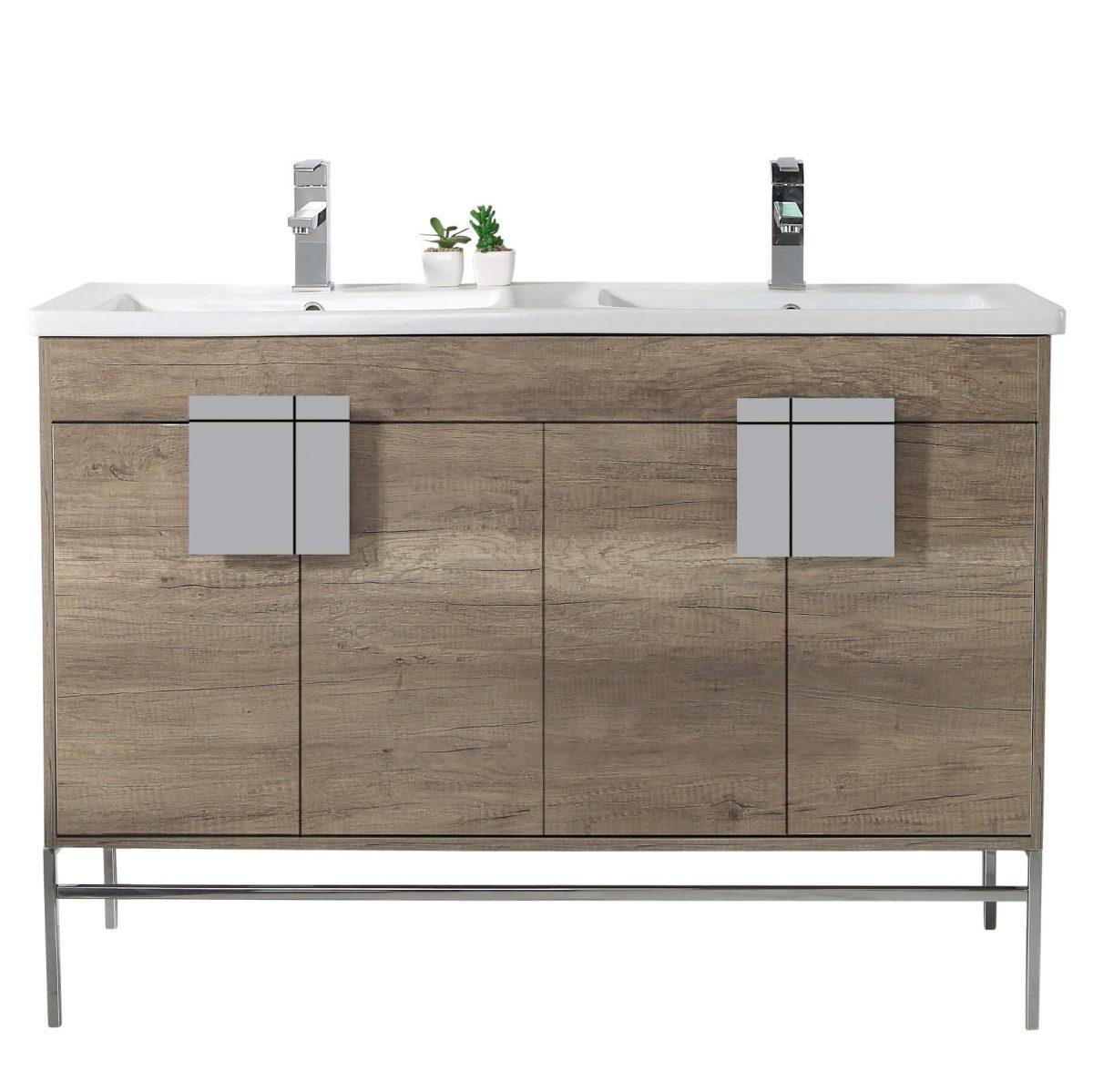 "Shawbridge 48"" Modern Double Bathroom Vanity  Shadow Gray with Polished Chrome Hardware"
