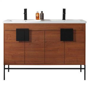 "Shawbridge 48"" Modern Double Bathroom Vanity  Spicy Walnut with Black Hardware"