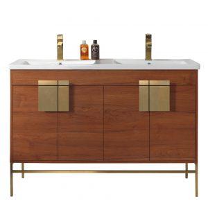 "Shawbridge 48"" Modern Double Bathroom Vanity  Spicy Walnut with Satin Brass Hardware"