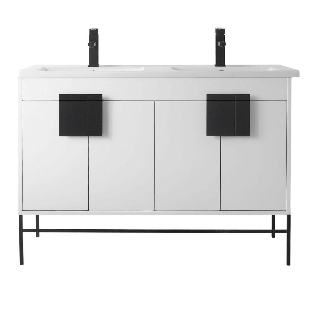 "Shawbridge 48"" Modern Double Bathroom Vanity  White with Black Hardware"