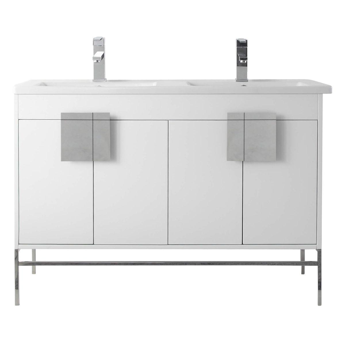 """Shawbridge 48"""" Modern Double Bathroom Vanity  White with Polished Chrome Hardware"""