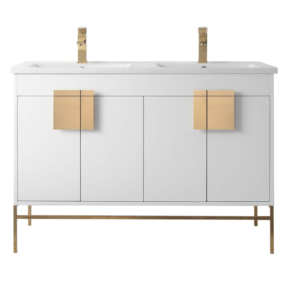 "Shawbridge 48"" Modern Double Bathroom Vanity  White with Satin Brass Hardware"