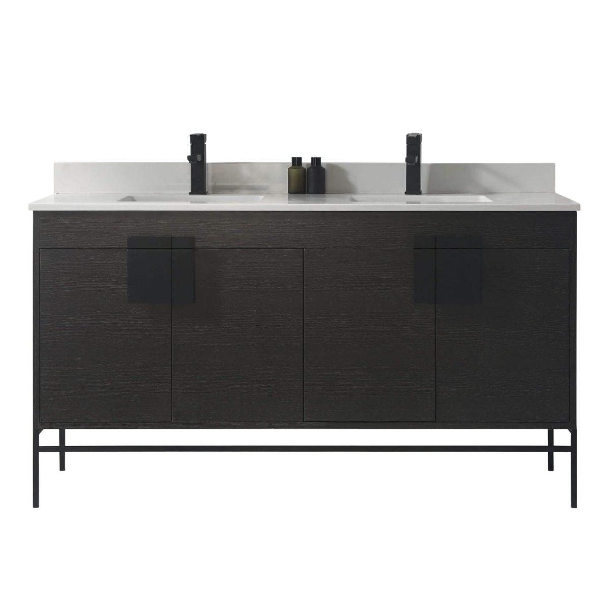"Shawbridge 60"" Modern Double Bathroom Vanity  Black Oak Straight Grain with Black Hardware"