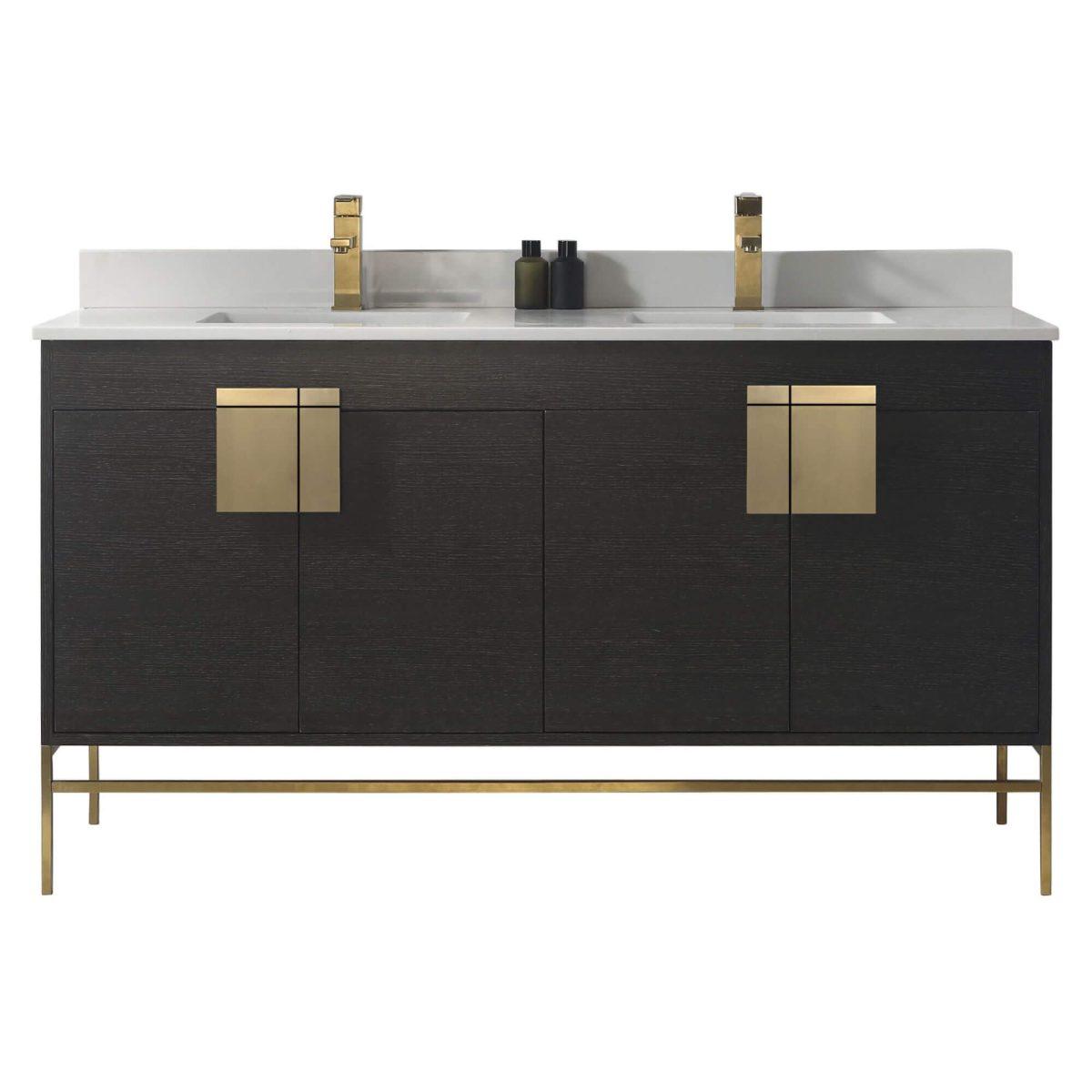 "Shawbridge 60"" Modern Double Bathroom Vanity  Black Oak Straight Grain with Satin Brass Hardware"