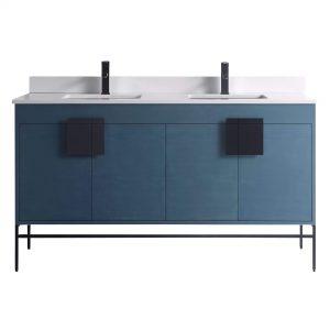 "Shawbridge 60"" Modern Double Bathroom Vanity  French Blue with Black Hardware"
