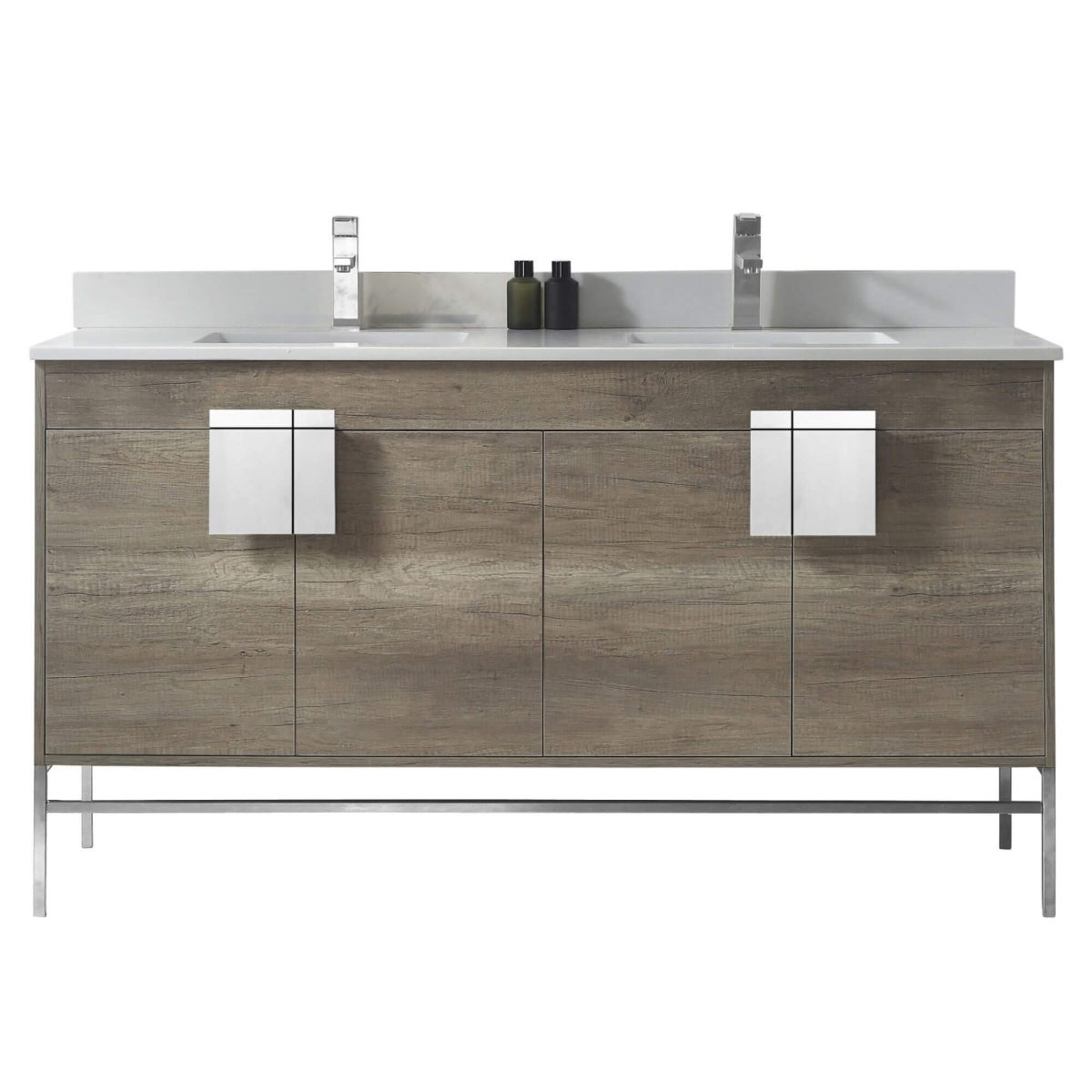 "Shawbridge 60"" Modern Double Bathroom Vanity  Shadow Gray with Polished Chrome Hardware"