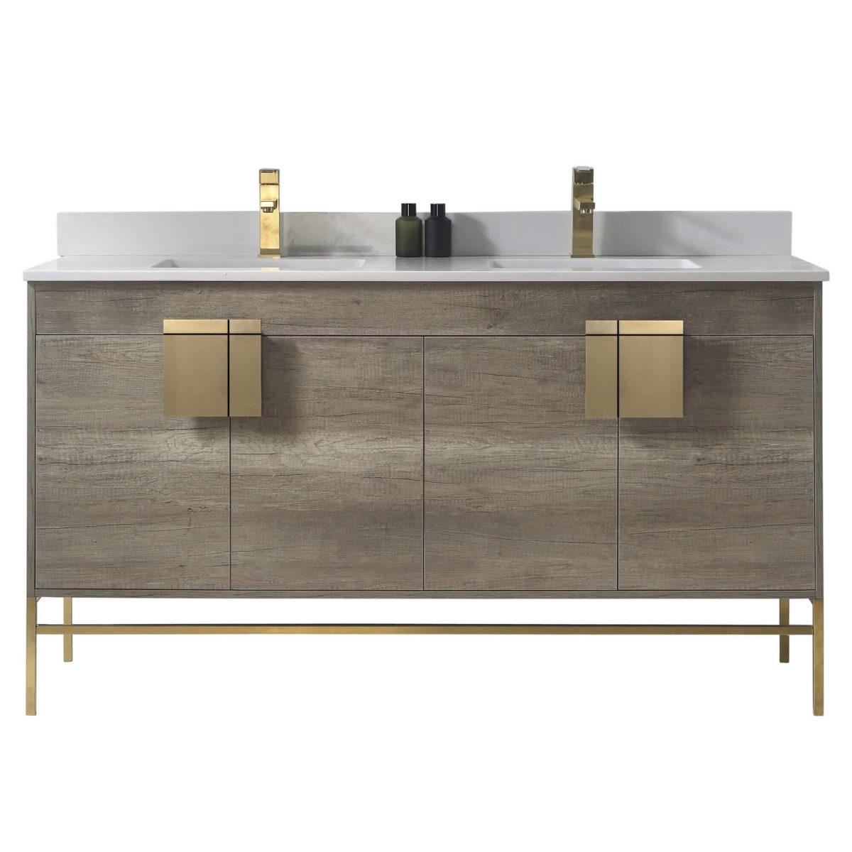 "Shawbridge 60"" Modern Double Bathroom Vanity  Shadow Gray with Satin Brass Hardware"