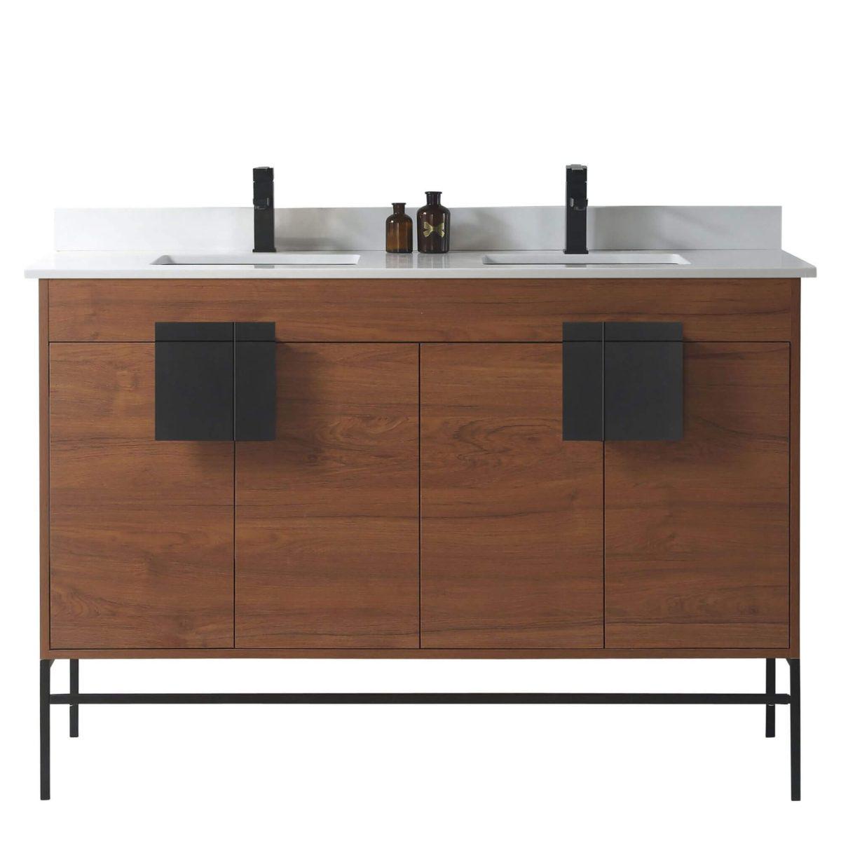 "Shawbridge 60"" Modern Double Bathroom Vanity  Spicy Walnut with Black Hardware"