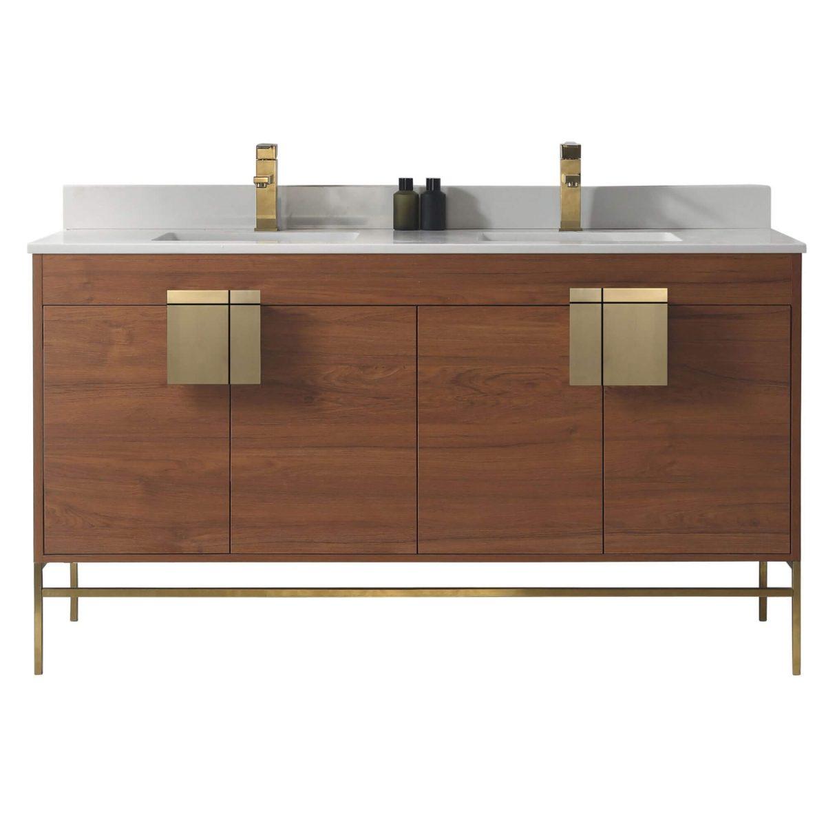 "Shawbridge 60"" Modern Double Bathroom Vanity  Spicy Walnut with Satin Brass Hardware"