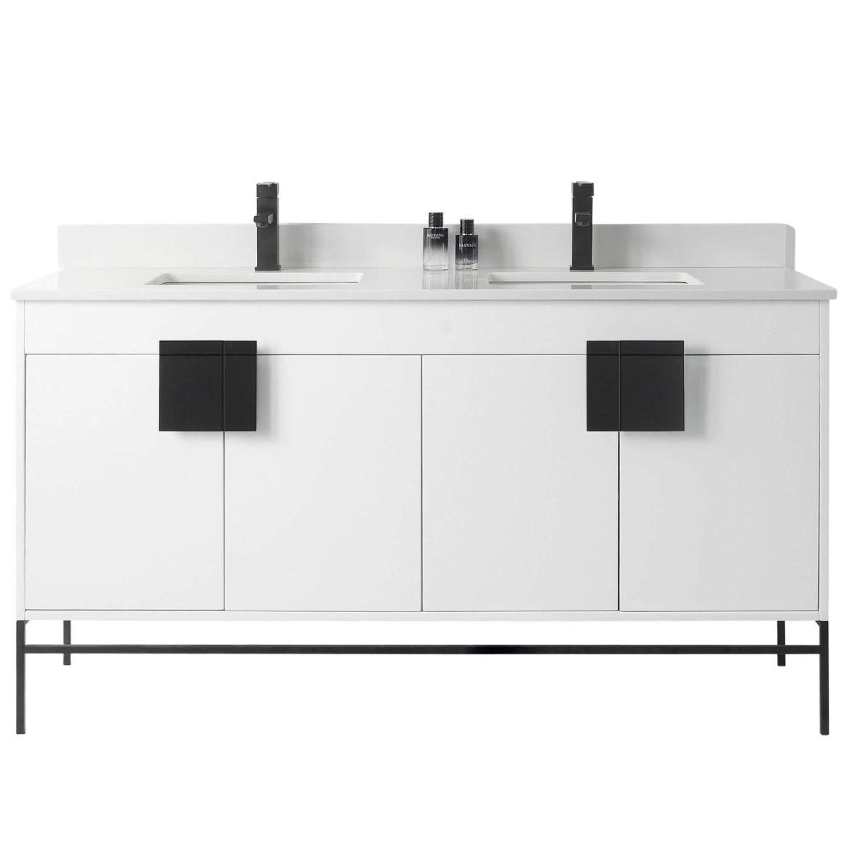 "Shawbridge 60"" Modern Double Bathroom Vanity  White with Black Hardware"