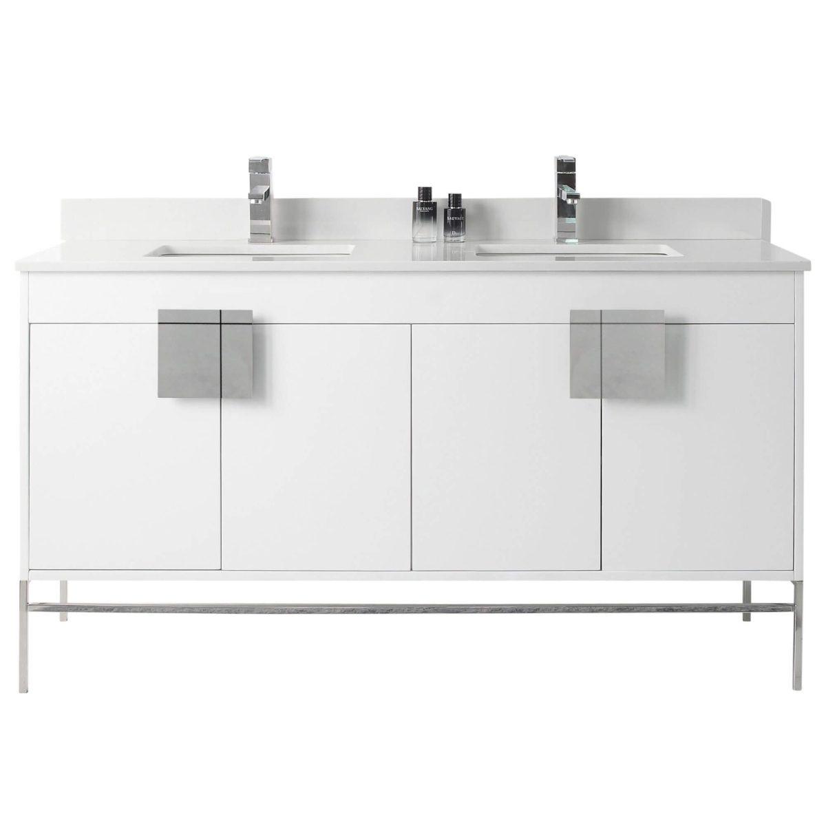 """Shawbridge 60"""" Modern Double Bathroom Vanity  White with Polished Chrome Hardware"""