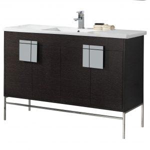 "Shawbridge 48"" Modern Single Bathroom Vanity  Black Oak Straight Grain with Polished Chrome Hardware"