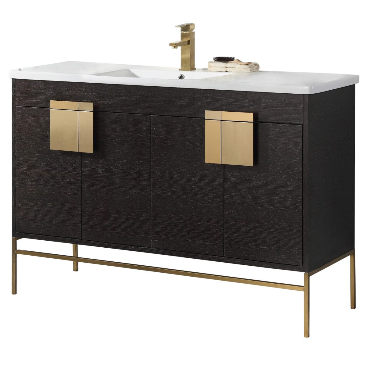 "Shawbridge 48"" Modern Single Bathroom Vanity  Black Oak Straight Grain with Satin Brass Hardware"