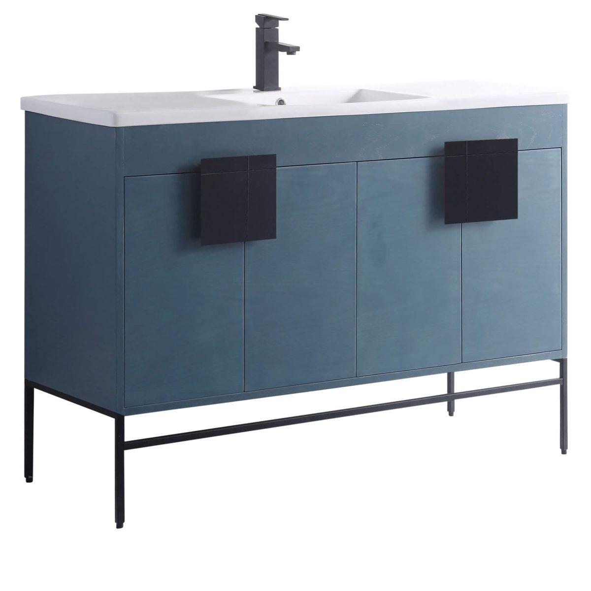 "Shawbridge 48"" Modern Single Bathroom Vanity  French Blue with Black Hardware"