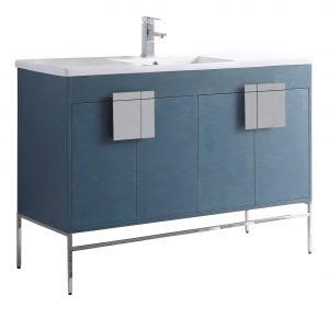 """Shawbridge 48"""" Modern Single Bathroom Vanity  French Blue with Polished Chrome Hardware"""