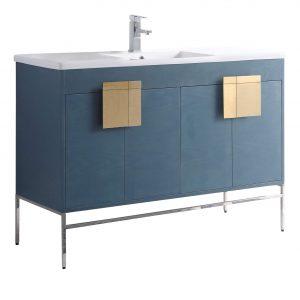 "Shawbridge 48"" Modern Single Bathroom Vanity  French Blue with Satin Brass Hardware"