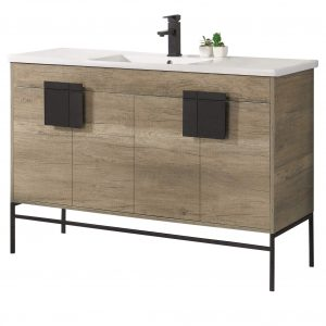 "Shawbridge 48"" Modern Single Bathroom Vanity  Shadow Gray with Black Hardware"