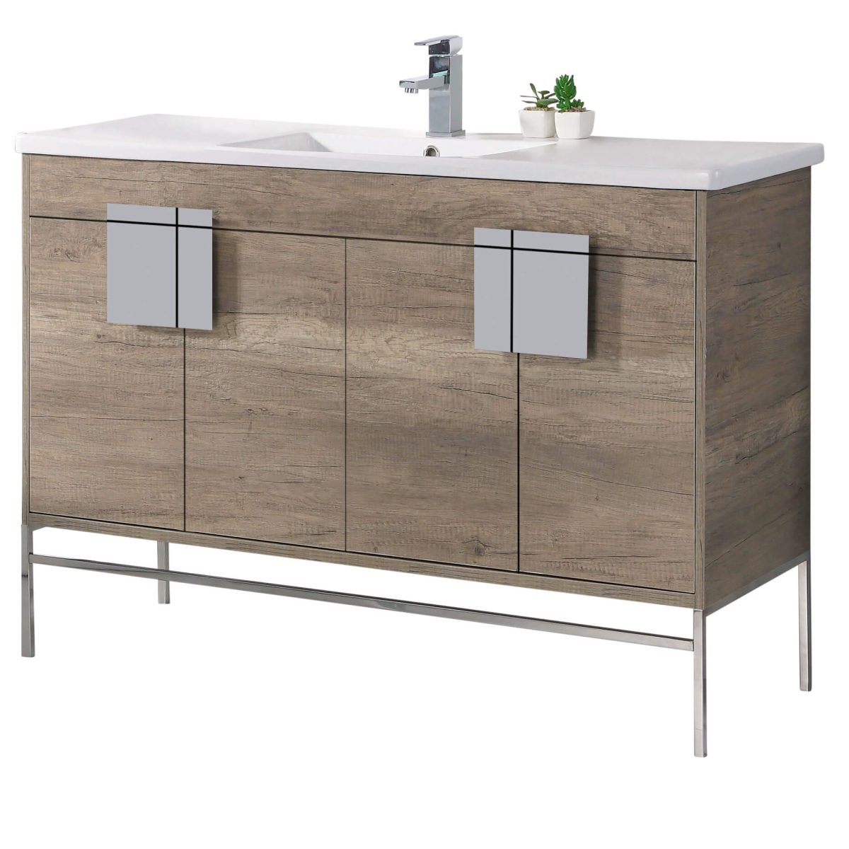 "Shawbridge 48"" Modern Single Bathroom Vanity  Shadow Gray with Polished Chrome Hardware"